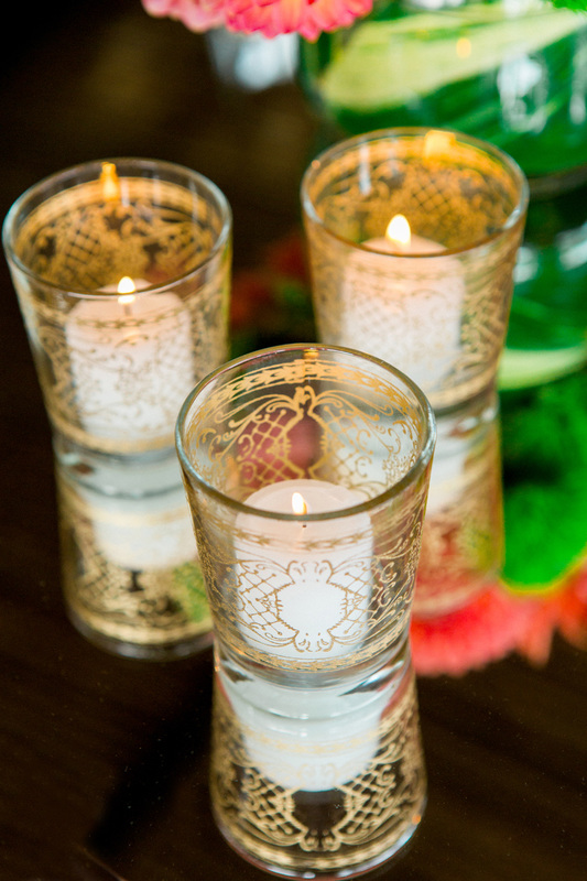 Votive Candles w/ gold etching - San Ysidro Ranch Wedding
