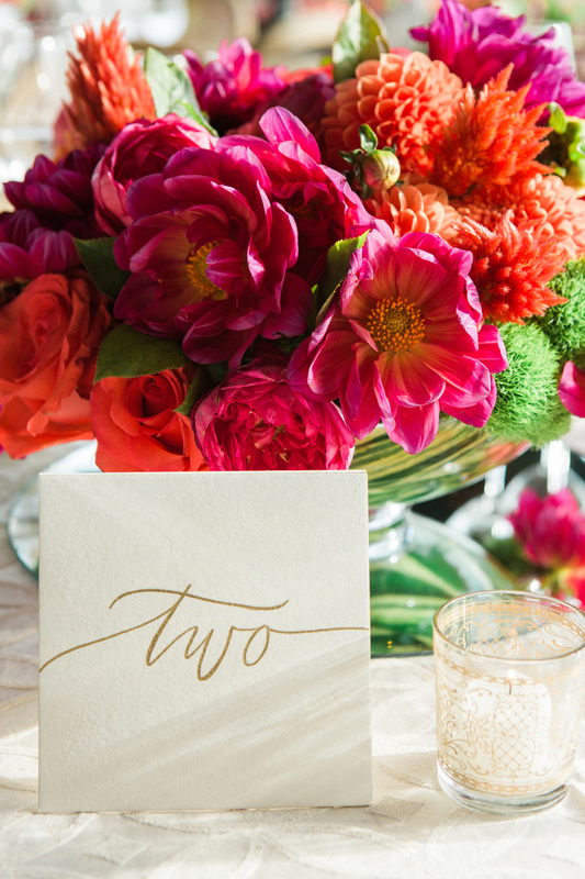 Beautiful Pink & Orange Floral Palette by Sillapere/ Rosemary Events. Table numbers by Anne Robin and
