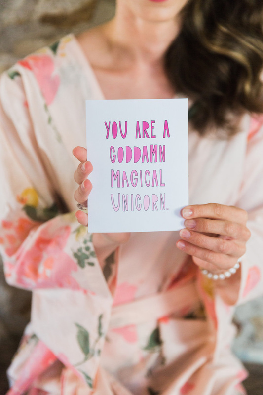 You are a goddamn magical unicorn, Bride note, Photo by Corbin Gurkin, Rosemary Events wedding planner
