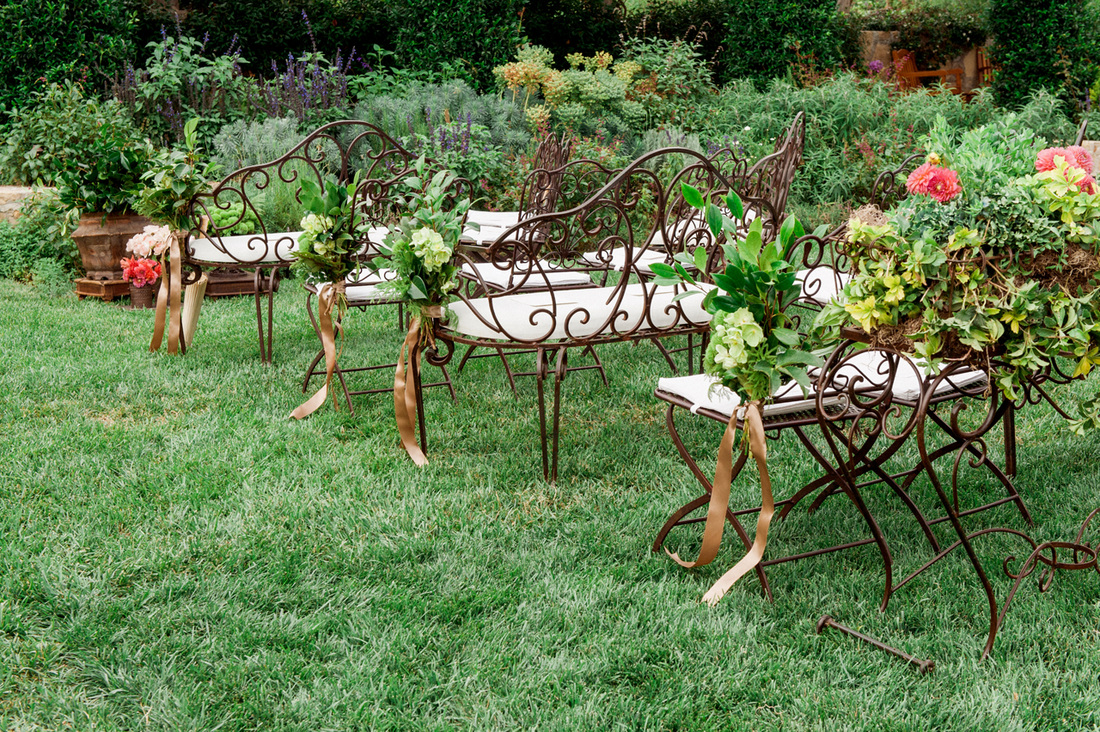 Wrought Iron Bench Seating - Santa Barbara Wedding By Rosemary Events & Sillapere
