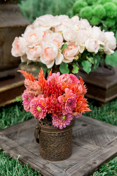 Ceremony Flowers by Sillapere, Pink & Orange flowers at Rosemary Events wedding