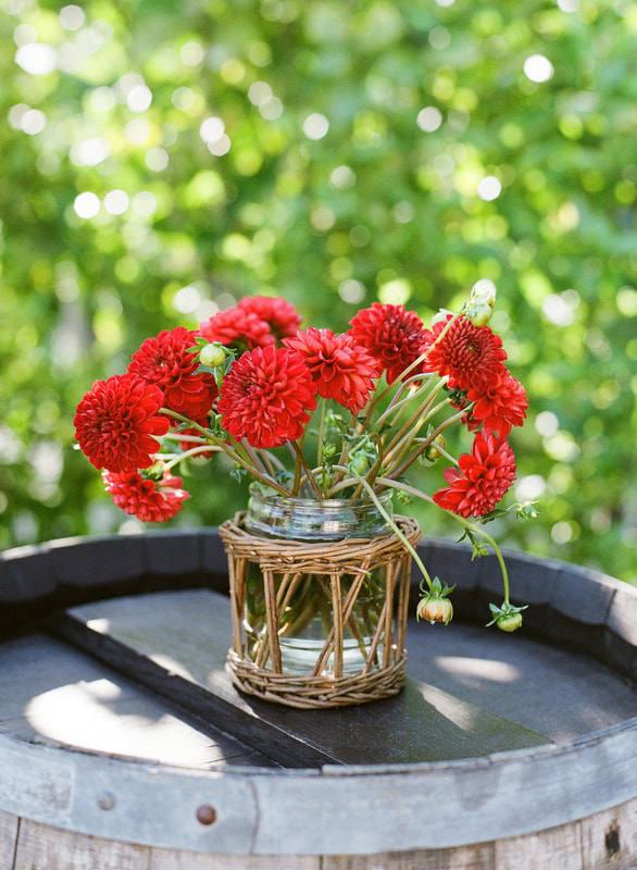 Red Dahlia arrangement by Mindy Rice Design for Rosemary Events Welcome Party.  Photo by Jose Villa