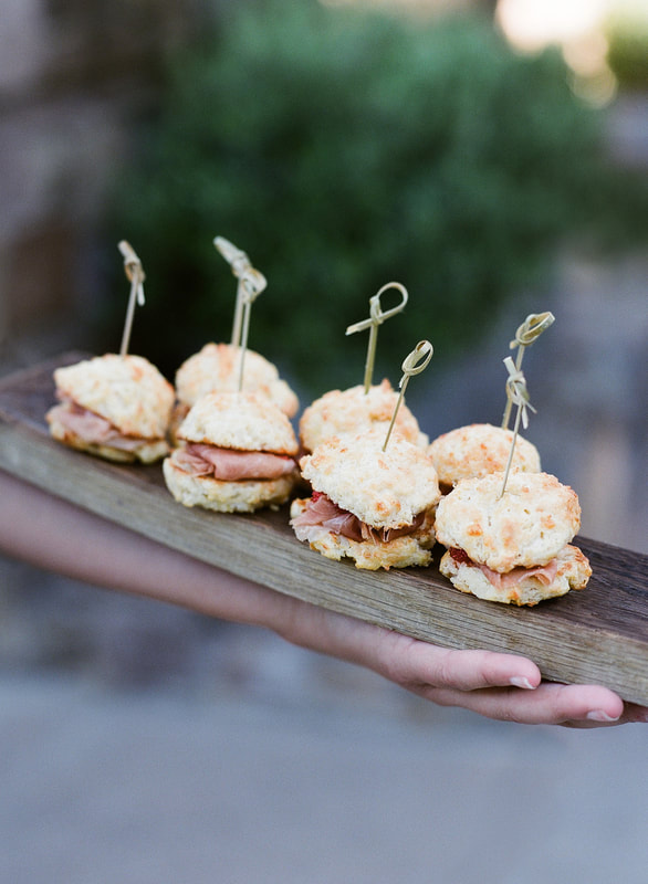 Ham & Biscuit Appetizer / Hors d'oeuvres  at Farmstead at Long Meadow Ranch.  Rosemary Events Welcome Party Photo by Jose Villa