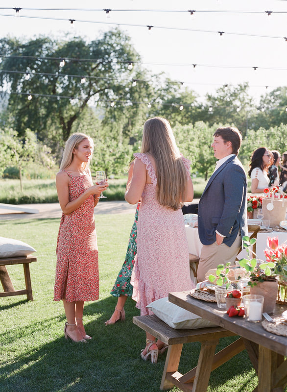 Guests Mingling at Summer Party.  Photo by Jose Villa.  Party by Rosemary Events & Mindy Rice Design