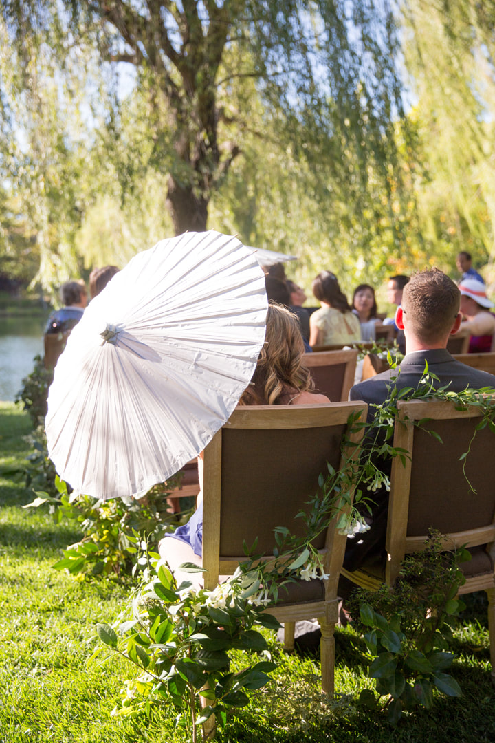 Wedding guest with Parasol at Rosemary Events and Sillapere Napa Valley estate wedding. Photo by Kristen Loken