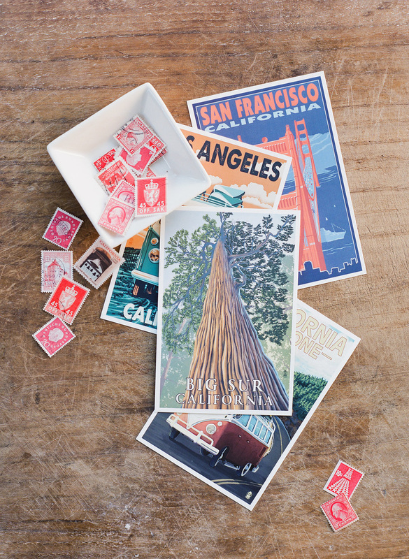 California postcards & vintage stamps - gift basket by PS Paper & Rosemary Events. Photo by Corbin Gurkin