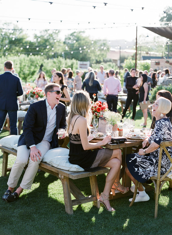 Guests enjoy a welcome party by Rosemary Events at Farmstead at Long Meadow Ranch in Napa Valley.  Photo by Jose Villa