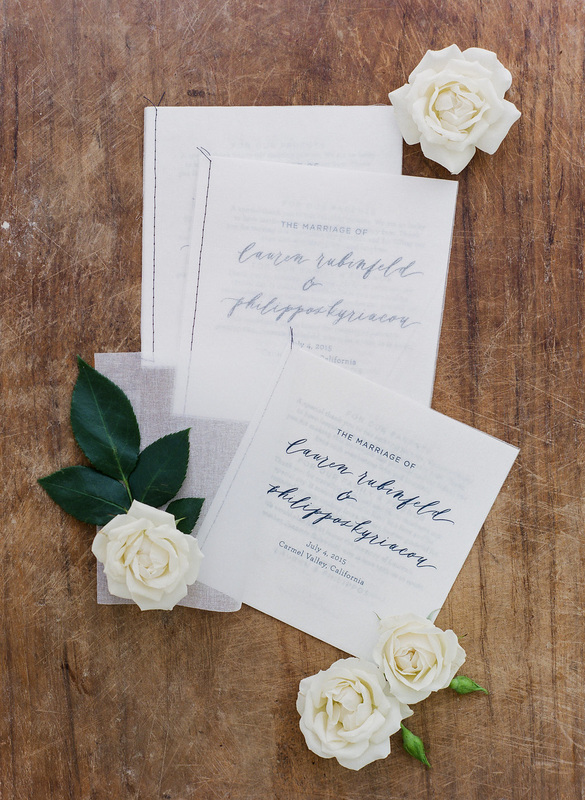 Wedding Program by Tiny Pine Press and Rosemary Events.  Lettering by Chelsea Pejata. Photo by Corbin Gurkin