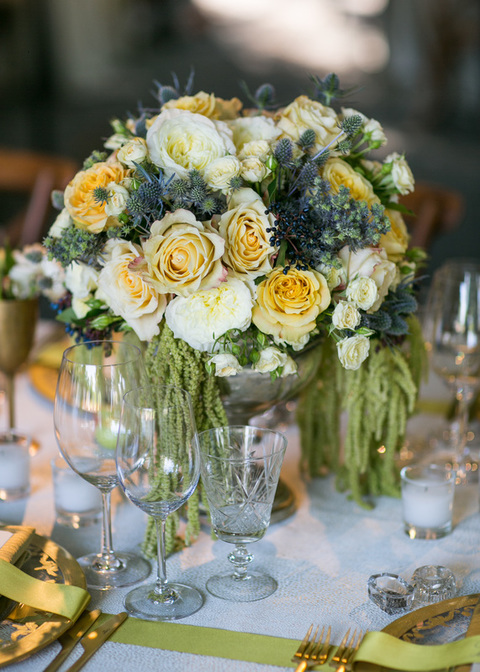 Table Arrangement by Nicole Sillapere, Rosemary Events wedding at Beaulieu Garden, , www.rosemaryevents.com, Gold & Yellow w/ purple accents