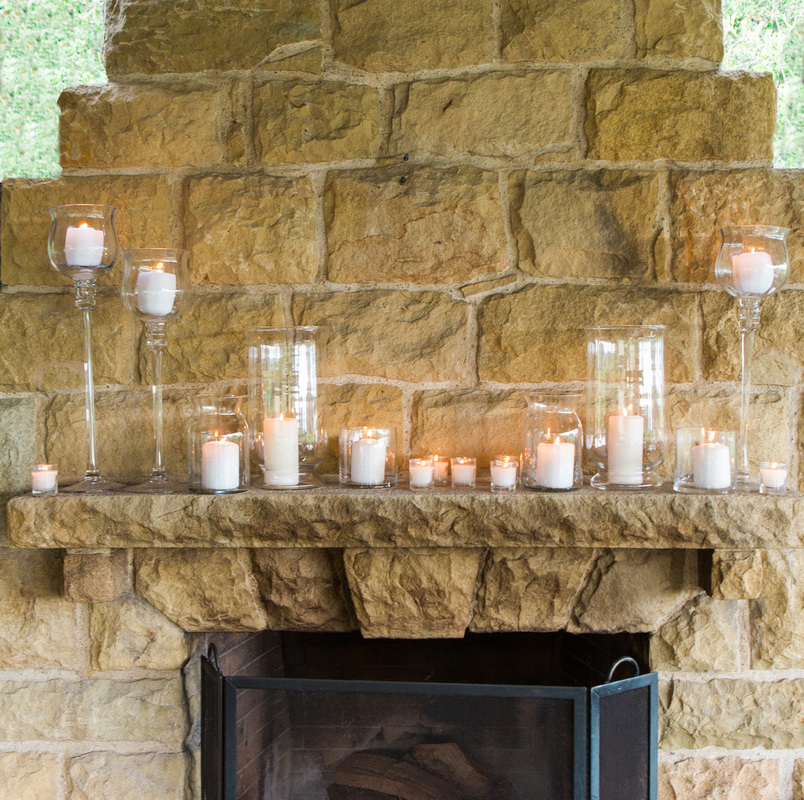 Candlelight on Stone Mantel at San Ysidro Ranch - Sillapere & Rosemary Events