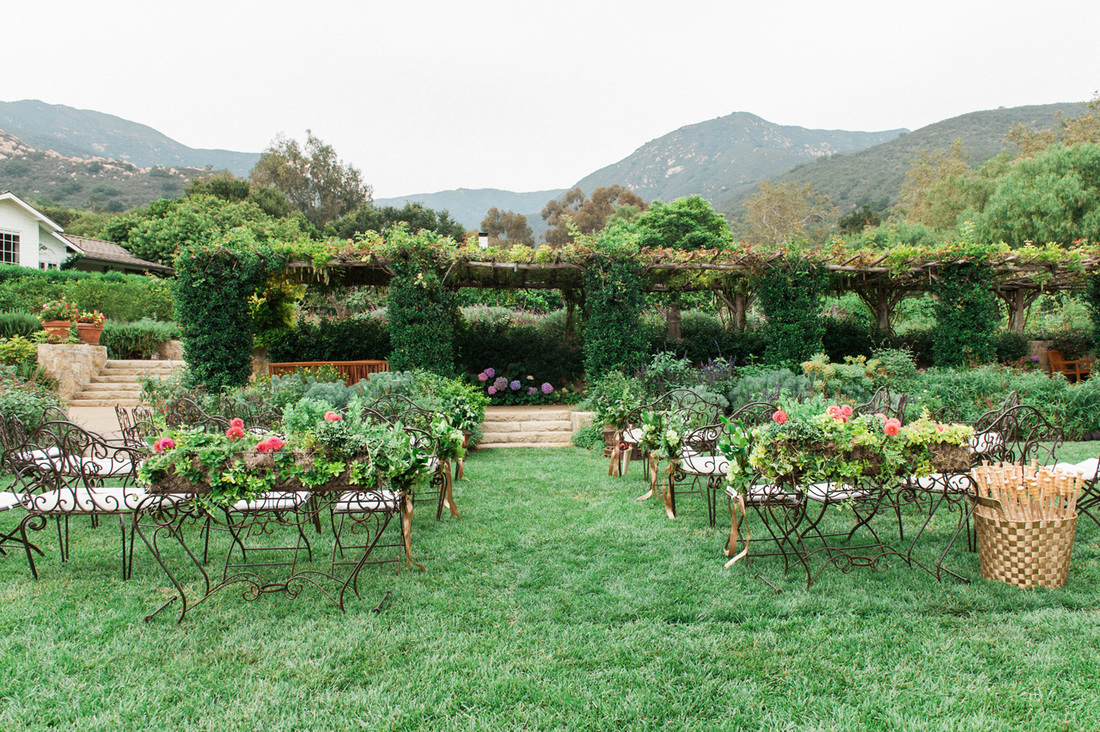 Gorgeous Garden Wedding Ceremony at San Ysidro Ranch Wedding by Rosemary Events and Sillapere