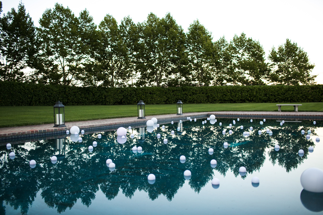 Beaulieu Garden Wedding by Rosemary Events, Napa Valley Wedding, Globes in Pool, Pool Decor, www.rosemaryevents.com