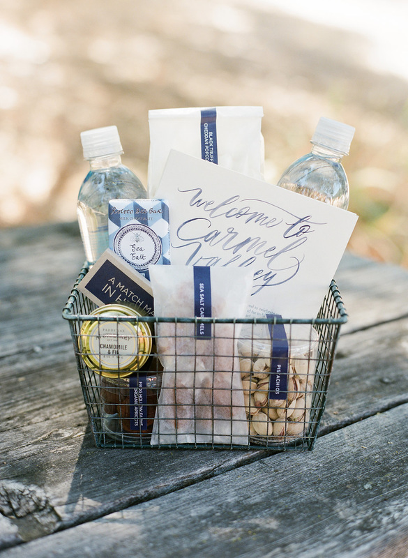 Carmel Valley Wedding Gift basket by PS Paper and Rosemary Events Photo by Corbin Gurkin