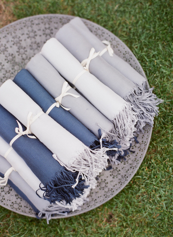 Pashminas for cool summer evening.  Rosemary Events wedding in Carmel Valley. Photo by Corbin Gurkin.