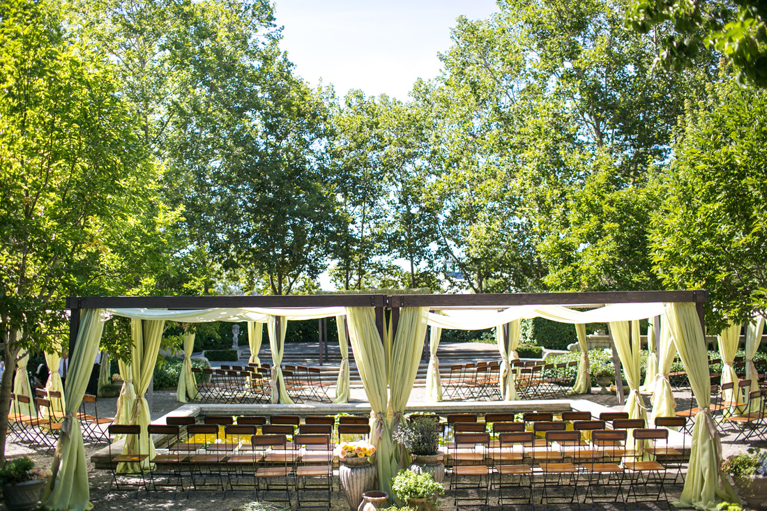 Ceremony Shade Canopies, Rosemary Events & Nicole Sillapere, Beaulieu Gardens, Napa Valley Estate Wedding