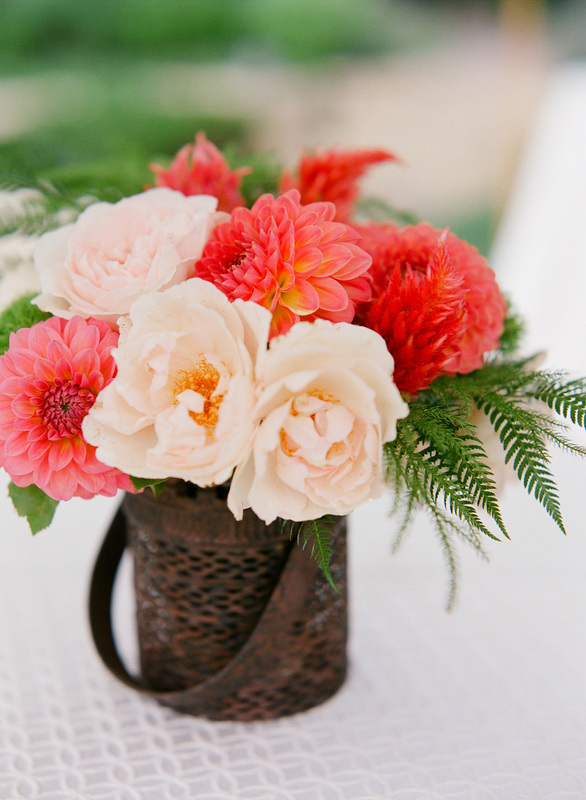 Gorgeous floral arrangement Coral Dahlias & pink roses Sillapere & Rosemary Events