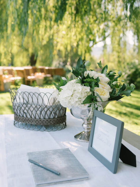 Guest Book table at Napa Valley Estate wedding by Rosemary Events and Sillapere. Photo by Kristen Loken