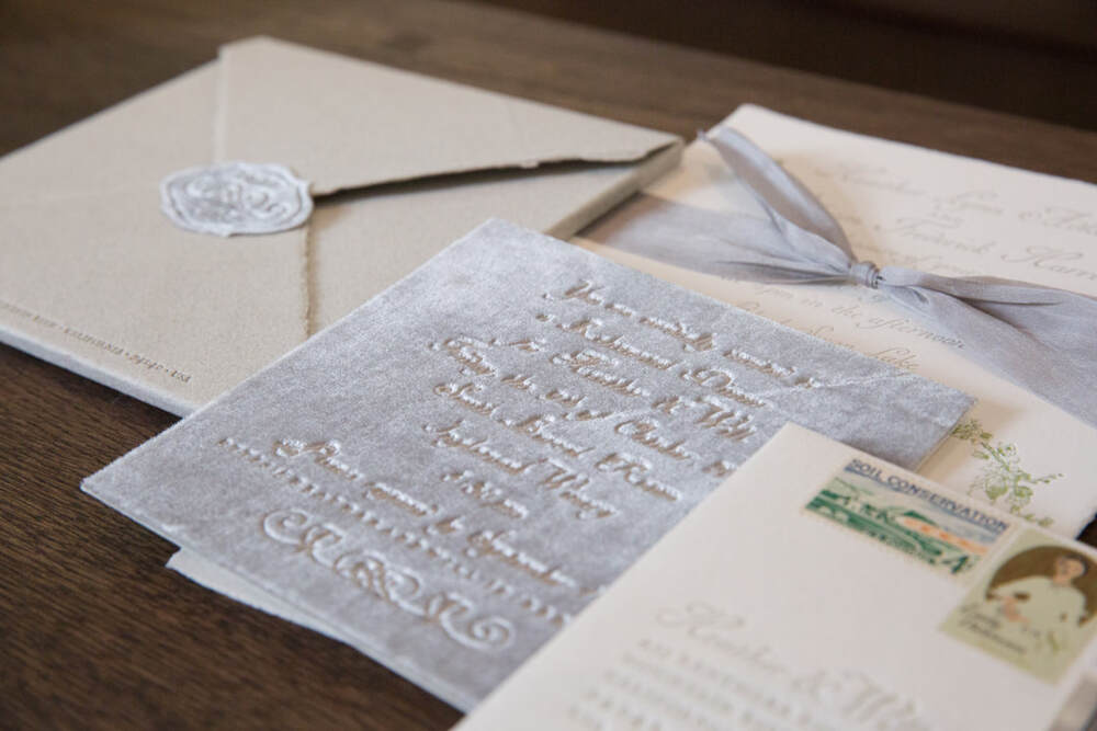 Velvet embossed invitation by Tiny Pine Press, Rosemary Events & Sillapere