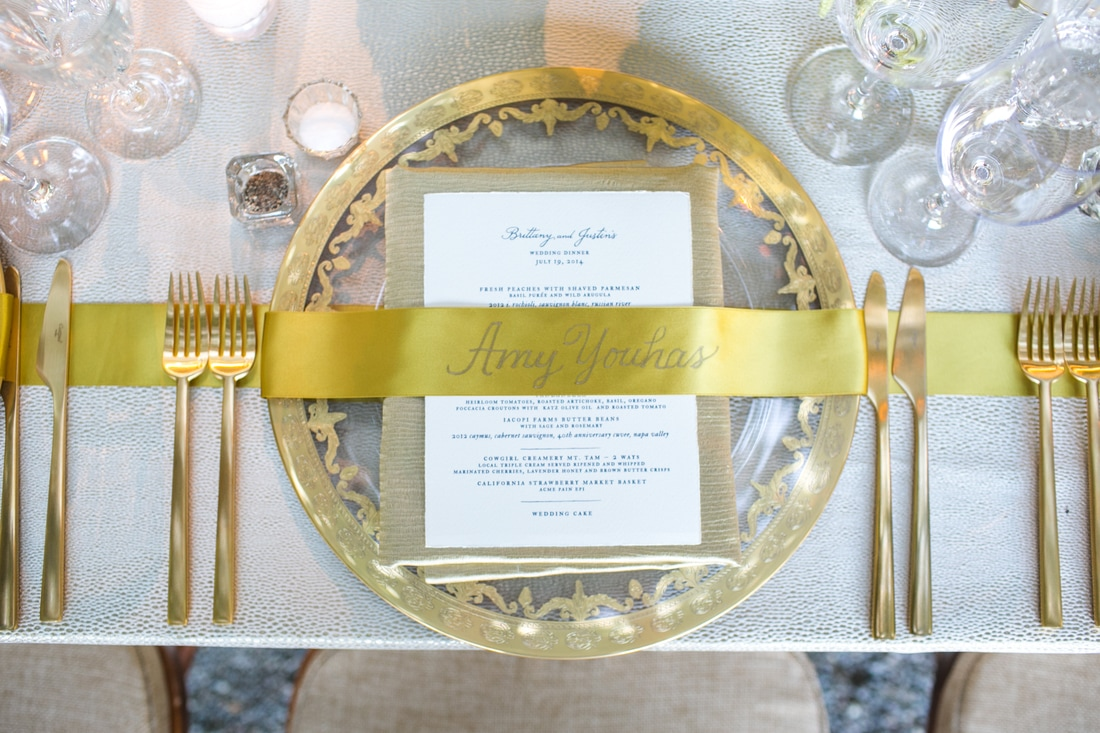 Gold Tabletop and continuous ribbon treatment by Rosemary Hattenbach & Nicole Sillapere
